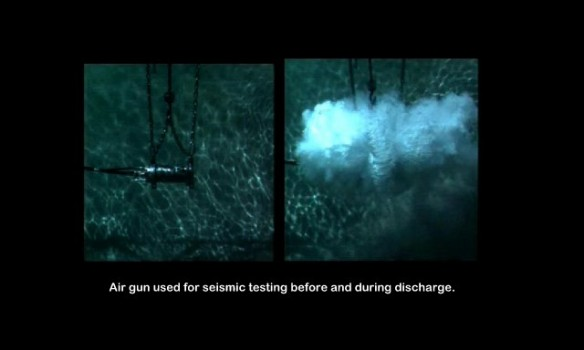 Air gun before and after discharge.  By Ocean Conservation Research
