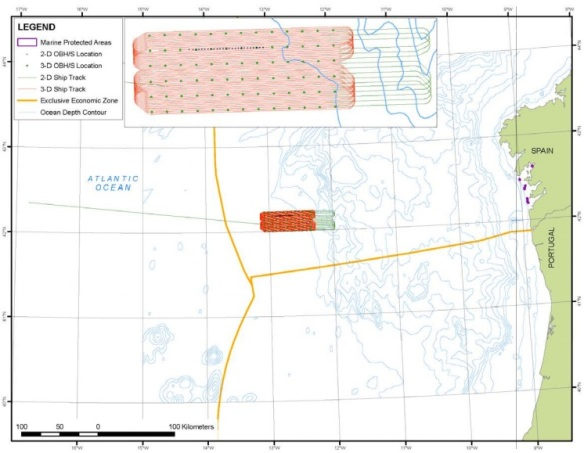 FIGURE 1. Location of the proposed seismic surveys and OBH/S instruments at the proposed study site in the northeast Atlantic Ocean during  June–July 2013, and marine protected areas in Spain.