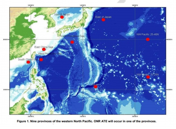 Proposed locations of the sonar experiment http://1.usa.gov/15ZUgLl