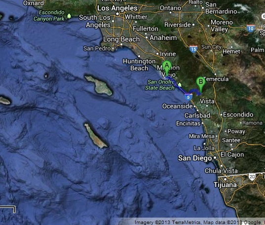 Proximity of Dana Point and Operation Dawn Blitz