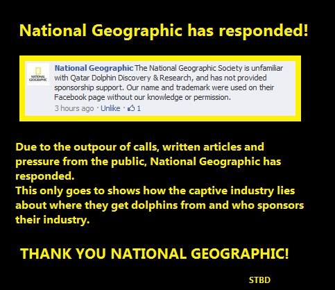 National Geographic spoke up and denied any connection with Dolphin Discovery & Research