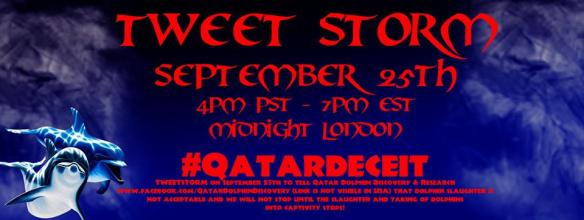 TWEETSTORM on September 25th to tell Qatar Dolphin Discovery & Research www.facebook.com/QatarDolphinDiscovery (link is not visible in USA) that dolphin slaughter is not acceptable and we will not stop until the dolphin slaughter and capture stop!
