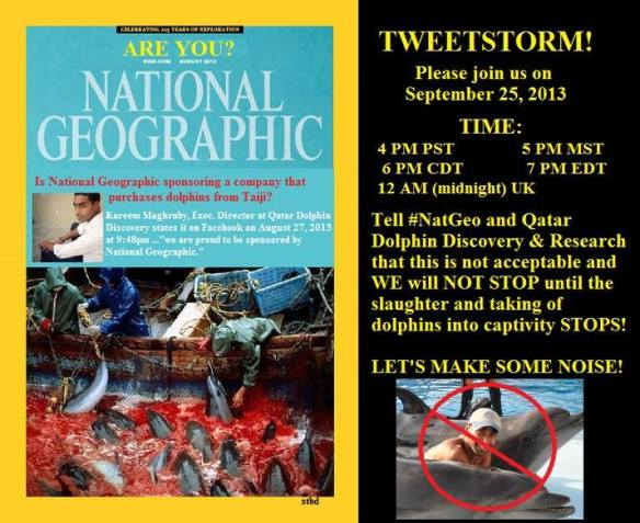 A TweetStorm Demanding National Geographic Sever their ties With Blood Dolphin Stocked Qatar Dolphin Discovery