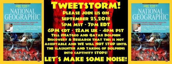 Join us as we we Tweet at NatGeo demanding they stop supporting the slaughter of dolphins in Taiji!