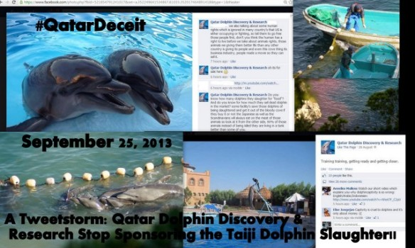 Join the Tweetstorm #QatarDeceit Qatar Dolphin & Research Stop Sponsoring the Taiji Dolphin Slaughter by purchasing Blood Dolphins!
