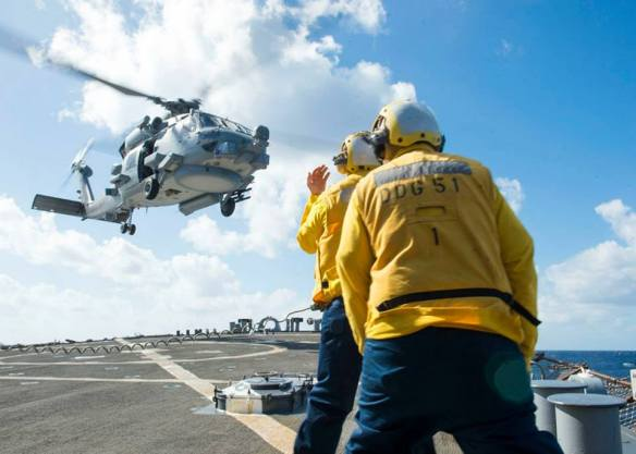 MH-60R Sea Hawk aboard the guided-missile destroyer USS Arleigh Burke (DDG 51) Comptuex training December 2-8th