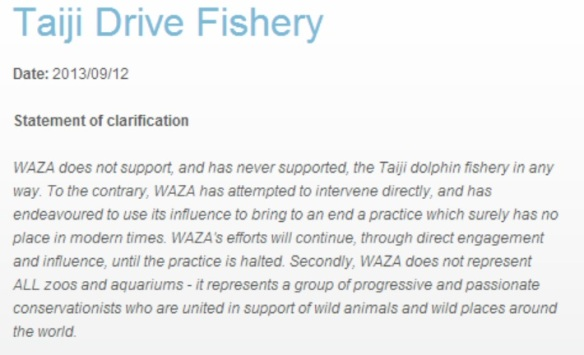 WAZA statement on Taiji Drive Fisheries