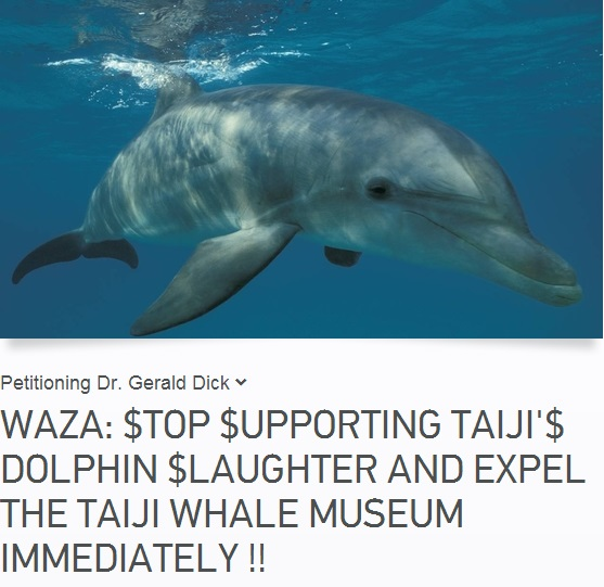 Please sign the petition demanding WAZA stop supporting dolphin drive fisheries.