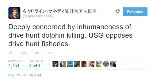 """Ambassador Carolyn Kennedy Call Dolphin Hunt """"inhumane""""."""
