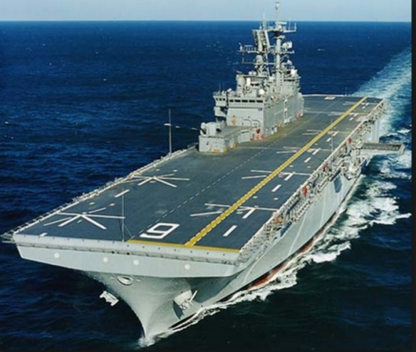 USS Bonhomme Richard (LHD 6) Aircraft carrier Underway with their fleet prior to Melon Headed Whales stranding.
